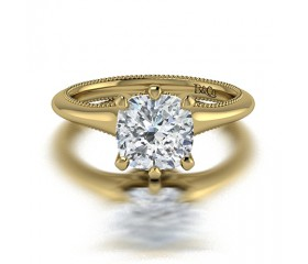 Cushion Cut Classic Solitaire 6 Prong  Diamond Engagement Ring in 14K Yellow Gold Comprised of 1.70ctw