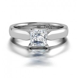 Classic Solitaire 4 Prong Princess Cut Diamond Engagement Ring in 14K White Gold Comprised 0.75ctw