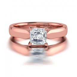 Classic Solitaire 4 Prong Princess Cut Diamond Engagement Ringin 14K Rose Gold Comprised of 0.75ctw