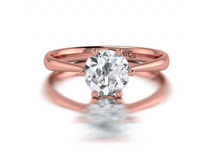 Classic 6 Prong Solitaire Diamond Engagement  in 14K Rose Gold Comprised of 1.08ctw