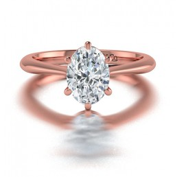 Classic Solitaire Oval Diamond Engagement Ring in 14K Rose Gold comprised of 1.50ctw